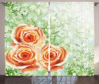 Watercolor Roses Curtain