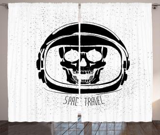 Cosmonaut Skeleton Cosmos Curtain