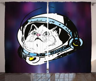 Kitten Astronaut Cosmic Curtain