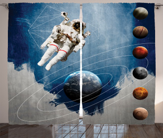 Astronaut Planets Space Curtain