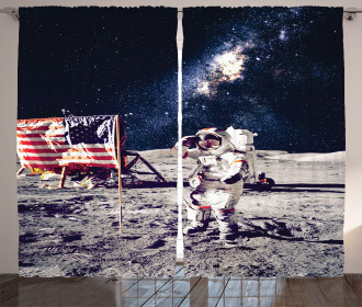 Moon Astronaut Space Curtain
