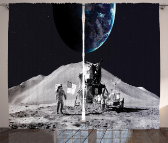 Moon Outer Space Curtain