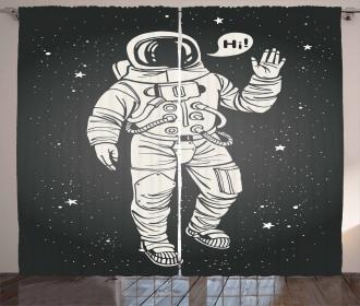 Cartoon Astronaut Space Curtain
