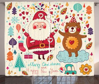 Santa and Teddy Bear Curtain