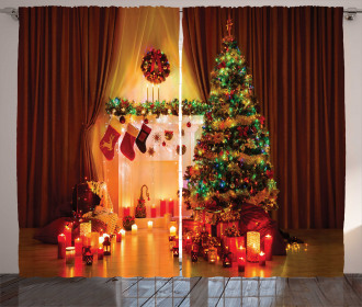 Tree Festive Presents Curtain
