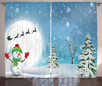Jolly Snowman Santa Curtain