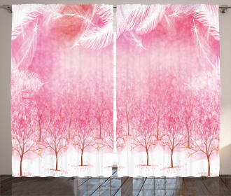 Cherry Trees Feathers Curtain