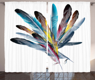 Retro Curtain Colorful Feathers Old Pen Print 2 Panel Window Drapes