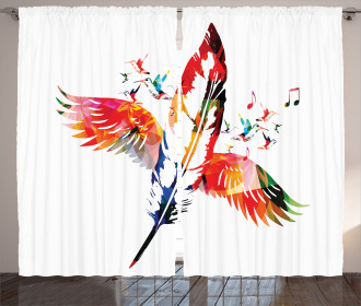 Feather with Wings Birds Curtain