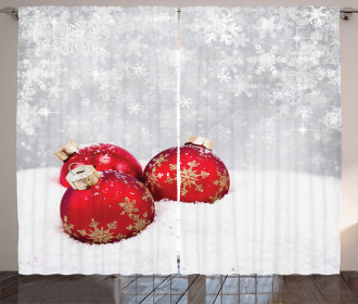Baubles on Snowflake Curtain
