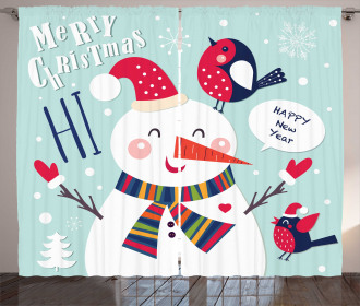 Bird Snow Xmas Theme Curtain