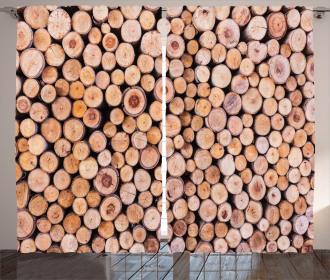 Wooden Lumber Tree Logs Curtain