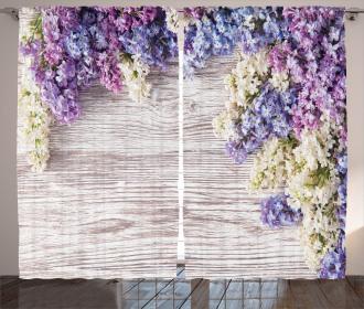 Lilac Flowers Bouquet Curtain