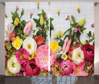 Rustic Home Rose Flowers Curtain