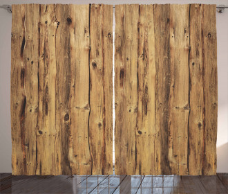 Wooden Forest Trees Art Curtain