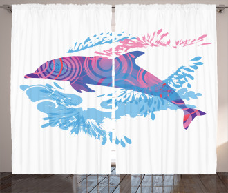 Cartoon Jumping Dolphin Curtain