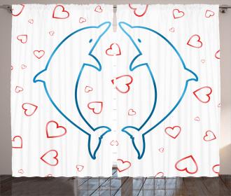 Cartoon Dolphins Love Curtain