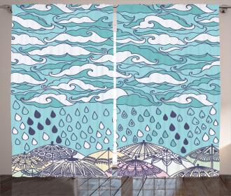 Rain and Umbrellas Fall Curtain