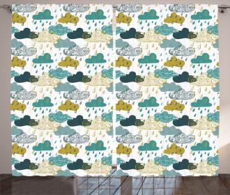 Rainy Clouds Grunge Icon Curtain