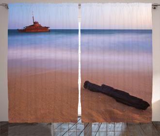 Shipwreck on Sea Dusk Curtain