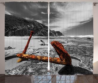Rusty Vintage Beach Curtain
