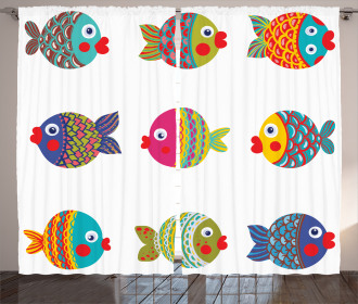 Cartoon Cute Fish Figures Curtain
