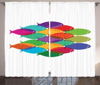 Colorful Shoal Artwork Curtain