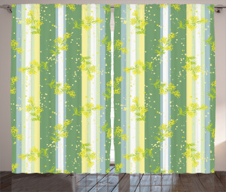 Spring Striped Flowers Curtain