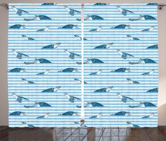 Turtle Blue Aquatic Curtain