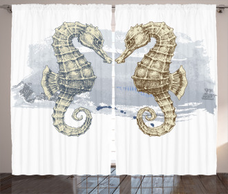 Seahorse Lovers Artsy Curtain