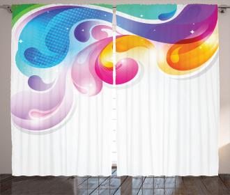 Abstract Paintbrush Curtain