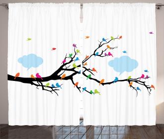Winged Birds on Tree Curtain