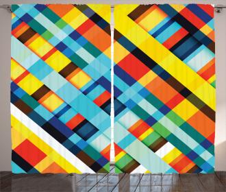 Vivid Retro Lines Curtain