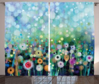 Flying Dandelions Art Curtain