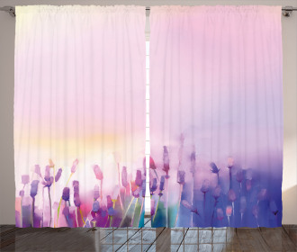 Lavender Violet Flowers Curtain