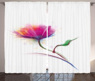 Watercolor Poppy Flower Curtain
