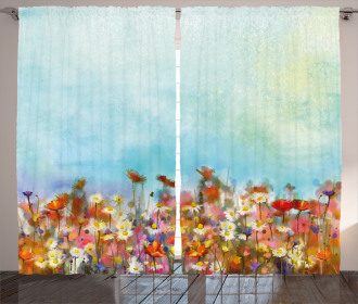 Flower Field Watercolor Curtain