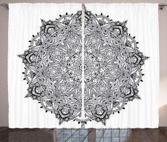 Mandala Art Black White Curtain