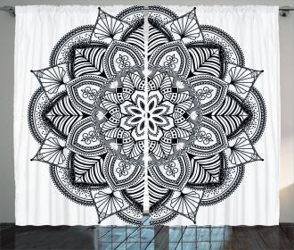 Mandala Black White Art Curtain