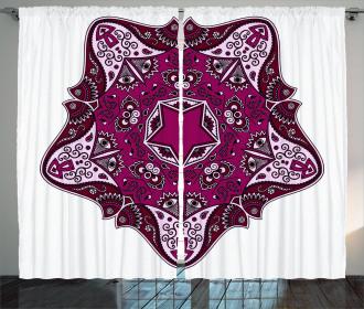 Maroon Mandala Asian Curtain