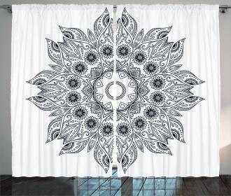 Mandala Black White Curtain