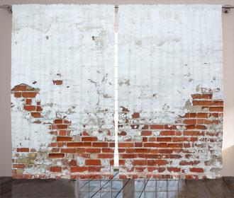 Aged Vintage Brick Wall Curtain