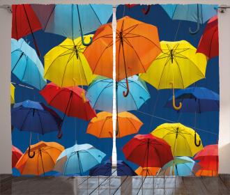 Colorful Umbrellas Sky Curtain