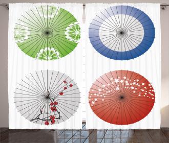 Flowers over Umbrellas Curtain