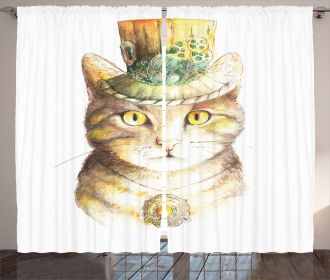 Watercolor Effect Animal Curtain