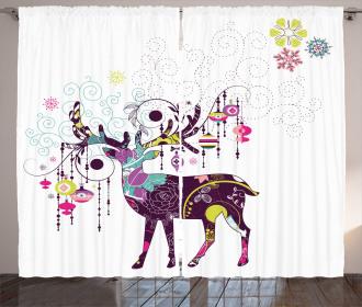 Reindeer Ethnic Ornaments Curtain