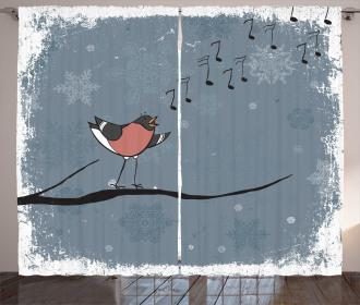 Bullfinch Bird Singing Curtain