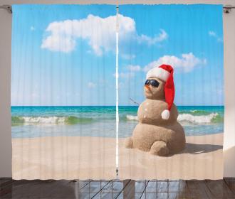 Sandman with Santa Hat Curtain
