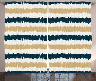 Navy Blue Beige Brush Curtain