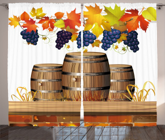 Golden Fall in Vineyard Curtain